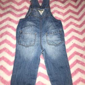 Dark blue jean overalls
